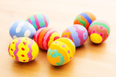 Children painted easter eggs — Stok fotoğraf