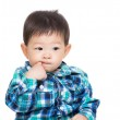 Asian baby boy stuck finger into mouth — ストック写真