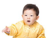 Chinese baby boy finger pointing towards — Foto de Stock