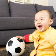 Asian baby boy play with soccer ball — Stock Photo