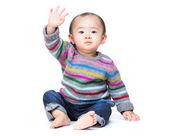 Asian baby boy waving his hand — 图库照片