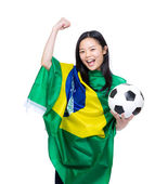 Asian female soccer fan with ball and flag — Foto de Stock