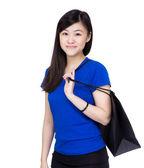 Mujer asiática con bolsa de compras — Foto de Stock