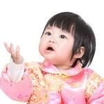 Chinese baby girl give goodbye kiss — Stock Photo #44002803