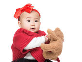 Asian baby girl play with  doll bear — Stock Photo