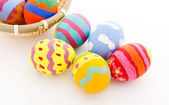 Colourful easter eggs in basket — Foto de Stock