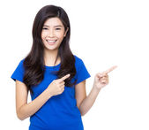 Asian woman finger introduce something — Stock Photo