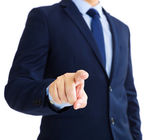 Business man touching an imaginary screen  — Stock Photo