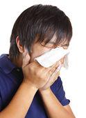 Asian man sneeze — Foto Stock
