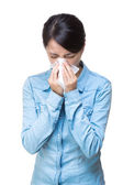 Asian woman sneeze — Stock Photo