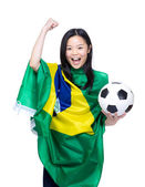 Female football supporter — Stock Photo