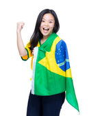 Excited soccer fan — Stock Photo