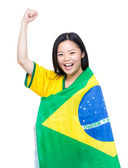Beautiful asian female soccer supporter — Stock Photo