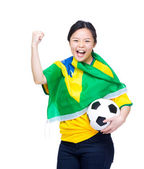 Asian excited happy soccer fan — Stock Photo