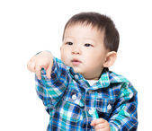 Baby child with funny hand gesture — Stock Photo