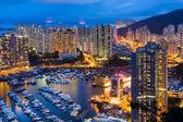 Riparo del tifone a hong kong durante la notte — Foto Stock