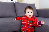 Asian baby girl try to stand — Foto Stock