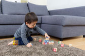 Asia baby boy play toy block at home — Stock Photo
