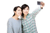 Two asia woman selfie — Stock Photo