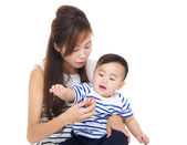 Asia woman play with her son — Stock Photo