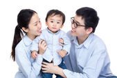Family photo with baby son — Stock Photo