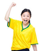 Excited female soccer fans screaming  — Stockfoto