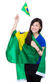 Excited soccer fans with Brazil flag — Stockfoto