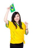 Asia female soccer fans — Stockfoto