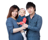 Happy family portrait smiling together — Stockfoto