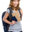 Woman traveler with holding backpack and passport — Stock Photo #46853543