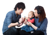 Parent play with baby daughter — Stockfoto