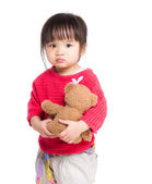 Asia little girl holding with doll — Stock Photo