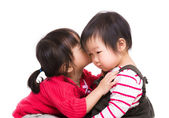 Asian sister kiss her litter sister — Stockfoto
