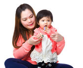Woman play with kid girl — Stockfoto