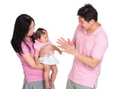 Family portrait, daddy play with daughter — Stock Photo