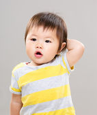 Asian little girl feeling confuse — Stock Photo