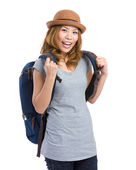 Young woman with backpack — Stock Photo