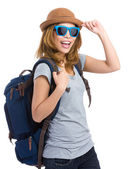 Happy woman tourist — Stock Photo