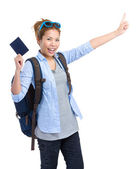 Woman tourist holding passport  — Stock Photo