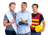 Team of engineer with asian and caucasian — Stock Photo
