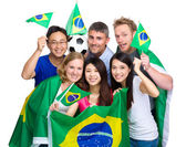 Group of soccer fans from different country  — Foto Stock