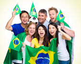 Brasilian Supporter with different ethnicities — Stock Photo