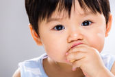Little boy eating biscuit close up — Stock Photo