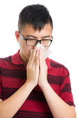 Asia man nose allergic — Stock Photo