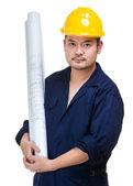 Asya inşaat işçisi düzen çizim holding — Stok fotoğraf