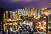 Typhoon shelter in Hong Kong during sunset — Stock Photo