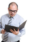 Manager get angry on reading file — Stockfoto