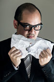 Boss getting angry and tear off paper — Stockfoto