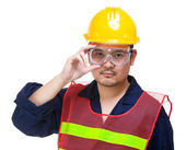 Serious construction worker wearing goggles — Stock Photo