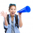 Excited woman traveller using megaphone — Stock Photo #47301177